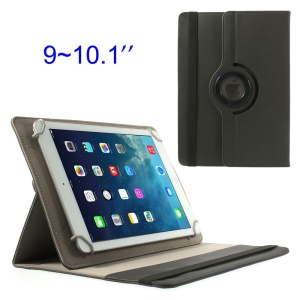 Black 360 Degree Rotary Twill Leather Stand Case for iPad Air 4 / Samsung Tab 10.1 9-10 inch Tablet PC