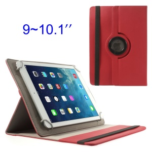 Red 360 Degree Rotary Twill Leather Stand Shell for iPad / Samsung Tab 10.1 / Sony Xperia Tablet Z 9-10 inch Tablet PC
