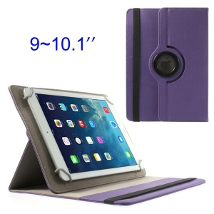 Purple 360 Degree Rotary Twill Leather Stand Cover for iPad / Samsung Tab 10.1 / Sony Xperia Tablet Z 9-10 inch Tablet PC