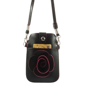 Black Rose Flower Big Window Pouch Bag Case w/ Short & Long Straps for iPhone 5s 5c 5, Size: 13 x 6.8cm