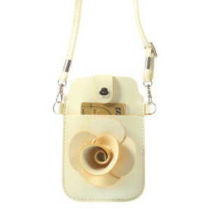 Beige Rose Flower Big Window Pouch Bag Case w/ Short & Long Straps for iPhone 5s 5c 5, Size: 13 x 6.8cm