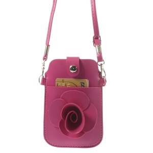Rose Rose Flower Big Window Pouch Bag Cover w/ Short & Long Straps for iPhone 5s 5c 5, Size: 13 x 6.8cm