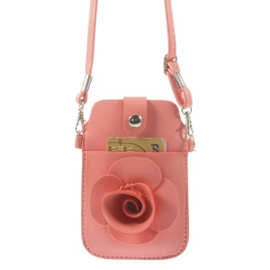 Pink Rose Flower Big Window Pouch Bag Cover w/ Short & Long Straps for iPhone 5s 5c 5, Size: 13 x 6.8cm