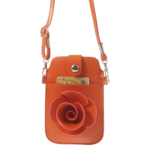Orange Rose Flower Big Window Pouch Case Cover w/ Short & Long Straps for iPhone 5s 5c 5, Size: 13 x 6.8cm