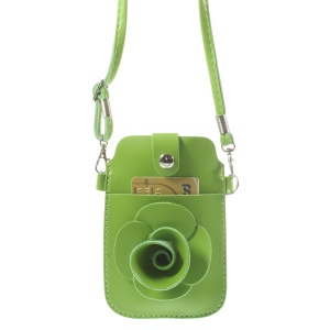 Green Rose Flower Big Window Pouch Case Cover w/ Short & Long Straps for iPhone 5s 5c 5, Size: 13 x 6.8cm