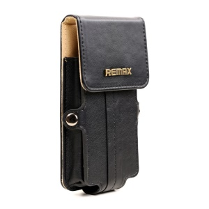 Black Remax Pedestrian Series Leather Case Pouch for iPhone 5s 5c 5 4s 4 / Samsung Galaxy S5 mini G800, Size: 142 x 78 x 30mm (S)
