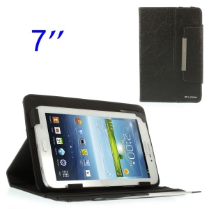 ZHUDIAO Universal Lines Texture Leather Stand Case for Samsung Galaxy Tab 3 Lite 7.0 T110 7-inch Tablet - Black