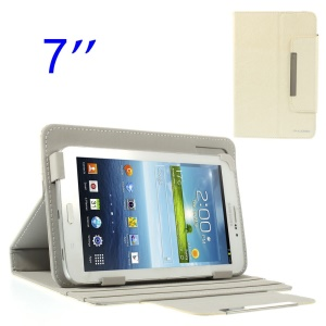 ZHUDIAO Universal Lines Texture Leather Stand Cover for Samsung Galaxy Tab 3 Lite 7.0 T110 7-inch Tablet - White