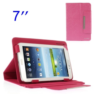 ZHUDIAO Universal Lines Texture Leather Stand Shell for Samsung Galaxy Tab 3 Lite 7.0 T110 7-inch Tablet - Rose