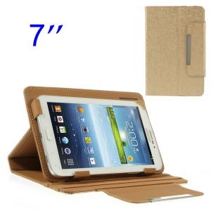 ZHUDIAO Universal Lines Leather Case w/ Stand for Samsung Galaxy Tab 3 Lite 7.0 T110 7-inch Tablet - Gold