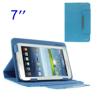 ZHUDIAO Universal Lines Leather Cover w/ Stand for Samsung Galaxy Tab 3 Lite 7.0 T110 7-inch Tablet - Blue