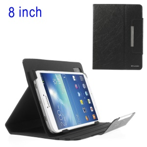 Black ZHUDIAO Universal Lines Texture Leather Stand Case for iPad Mini 2 / Samsung N5100 T330 / 8-inch Tablet PCs Etc