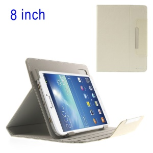 White ZHUDIAO Universal Lines Texture Tablet Leather Case for iPad Mini 2 / Samsung N5100 T330 / 8-inch Tablet PCs Etc