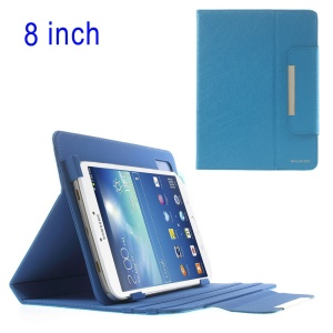 Blue ZHUDIAO Universal Lines Texture Stand Leather Case for iPad Mini / Samsung T3100 T331 / 8-inch Tablet PCs Etc