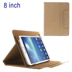 Gold ZHUDIAO Universal Lines Texture Stand Leather Shell for iPad Mini / Samsung T3100 T331 / 8-inch Tablet PCs Etc