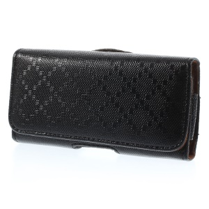 Black Check Pattern Horizontal Magnetic Leather Holster Pouch for iPhone 5s 5 5c, Size: 130 x 65 x 15mm