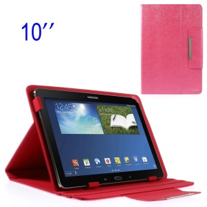 ZHUDIAO Edge Series Universal Lines Texture Leather Cover  for 10.1-inch Tablets w/ Stand - Rose