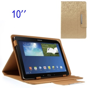 ZHUDIAO Edge Series Universal Lines Texture Leather Shell for 10.1-inch Tablets w/ Stand - Gold