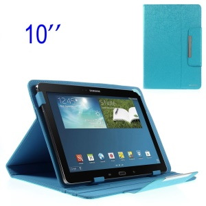 ZHUDIAO Edge Series Universal Lines Texture Leather Case for 10.1-inch Tablets w/ Stand - Blue