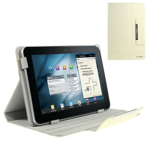 White ZHUDIAO Edge Series Universal Lines Texture Leather Stand Cover for 9-inch Tablets