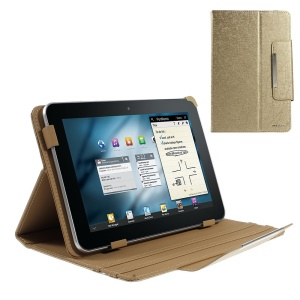 Gold ZHUDIAO Edge Series Universal Lines Texture Leather Case for 9-inch Tablets w/ Stand