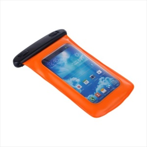 Orange KLX WP-510 Waterproof Sports Pouch + Headphone for Samsung Galaxy S5 S4 iPhone 5 5s 5c 6 4.7 inch etc (Size: 150*90mm)