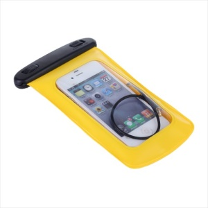 Yellow KLX WP-510 Waterproof Sports Pouch + Headphone for Samsung Galaxy S5 S4 iPhone 5 5s 5c 6 4.7 inch etc (Size: 150*90mm)