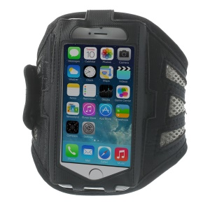 Sweat-absorbent Mesh Sports Gym Workout Armband Case for iPhone 5s 5 5c 4s 4 - Grey