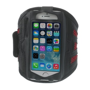 Sweat-absorbent Mesh Sports Running Gym Armband Pouch for iPhone 5s 5 5c 4s 4 - Red