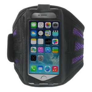 Sweat-absorbent Mesh Workout Gym Sports Armband Cover for iPhone 5s 5 5c 4s 4 - Purple