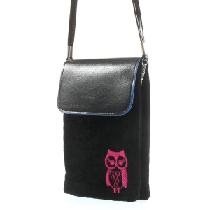 Black Owl Soft Velvet Dual-pocket Protective Bag for Power Bank iPhone Samsung HTC Sony etc, Size: 16 x 11.5cm
