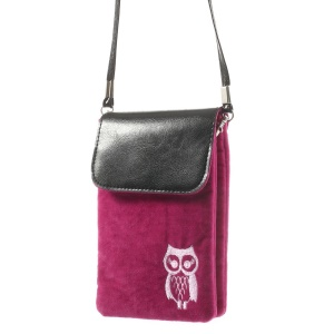 Rose Owl Soft Velvet Dual-pocket Protective Bag for Power Bank iPhone Samsung HTC Sony etc, Size: 16 x 11.5cm