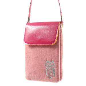 Pink Owl Soft Velvet Dual-pocket Protective Bag for Power Bank iPhone Samsung HTC Sony etc, Size: 16 x 11.5cm