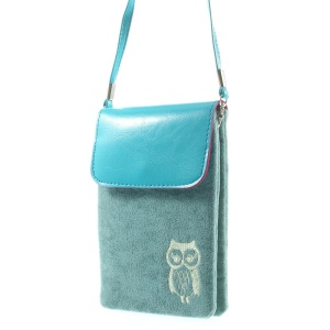 Blue Owl Soft Velvet Dual-pocket Protective Pouch for Power Bank iPhone Samsung HTC Sony etc, Size: 16 x 11.5cm