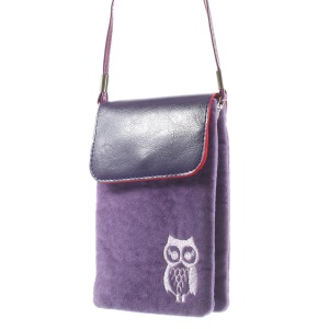 Purple Owl Soft Velvet Dual-pocket Carring Pouch for Power Bank iPhone Samsung HTC Sony etc, Size: 16 x 11.5cm