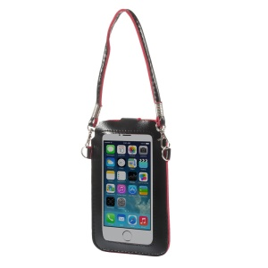 Black Touchable Screen Leather Pouch Shoulder Bag for iPhone 5 5s 5c Samsung S5 S4 Sony LG, Size: 15.3 x 9.5cm