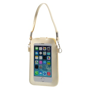 Beige Touchable Screen Leather Pouch Shoulder Bag for iPhone 5 5s 5c Samsung S5 S4 Sony LG, Size: 15.3 x 9.5cm