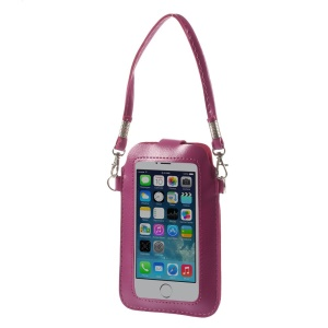 Rose Touchable Screen Leather Pouch Shoulder Bag for iPhone 5 5s 5c Samsung S5 S4 Sony LG, Size: 15.3 x 9.5cm