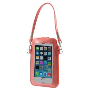 Pink Touchable Screen Leather Pouch Handbag for iPhone 5 5s 5c Samsung S5 S4 Sony LG, Size: 15.3 x 9.5cm