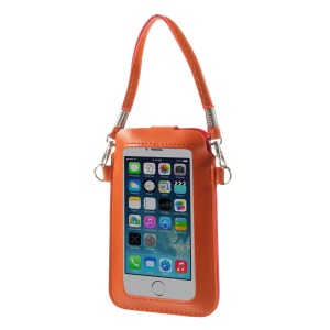 Orange Touchable Screen Leather Pouch Handbag for iPhone 5 5s 5c Samsung S5 S4 Sony LG, Size: 15.3 x 9.5cm