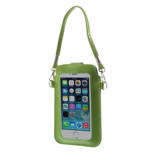 Green Touchable Screen Leather Pouch Handbag for iPhone 5 5s 5c Samsung S5 S4 Sony LG, Size: 15.3 x 9.5cm