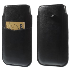 Black Crazy Horse Leather Sleeve Pouch w/ Pull Tab for iPhone 6 4.7 inch Samsung S4 / S3, Size: 140 x 78mm