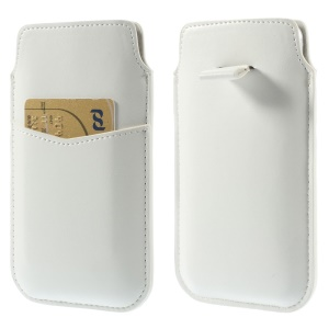 White Crazy Horse Leather Sleeve Pouch w/ Pull Tab for iPhone 6 4.7 inch Samsung S4 / S3, Size: 140 x 78mm