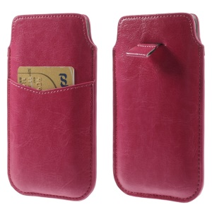 Rose Crazy Horse Leather Pouch Case w/ Pull Tab for iPhone 6 4.7 inch Samsung S4 / S3, Size: 140 x 78mm