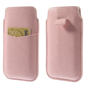 Pink Crazy Horse Leather Pouch Case w/ Pull Tab for iPhone 6 4.7 inch Samsung S4 / S3, Size: 140 x 78mm