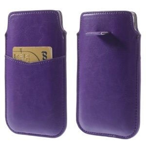 Purple Crazy Horse Leather Pouch Sleeve w/ Pull Tab for iPhone 6 4.7 inch Samsung S4 / S3, Size: 140 x 78mm