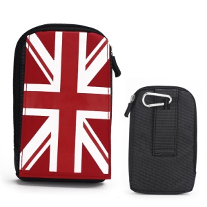 Union Jack Carabiner Pouch Bag for Samsung Galaxy Note 2 N7100 / N7000 / I717 / Digi Camera - Red