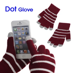 Unisex Warm Knit Capacitive Touch Screen Gloves Horizontal Stripe for iPhone iPad iPod Samsung i9300 Galaxy S3 - Red