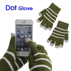 Unisex Warm Knit Capacitive Touch Screen Gloves Horizontal Stripe for iPhone iPad iPod Samsung i9300 Galaxy S3 - Army Green