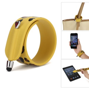 KTWO Leopard Pattern Wrist Slap Capacitive Touch Screen Pen Stylus for iPhone iPad iPod Samsung HTC LG - Dark Yellow